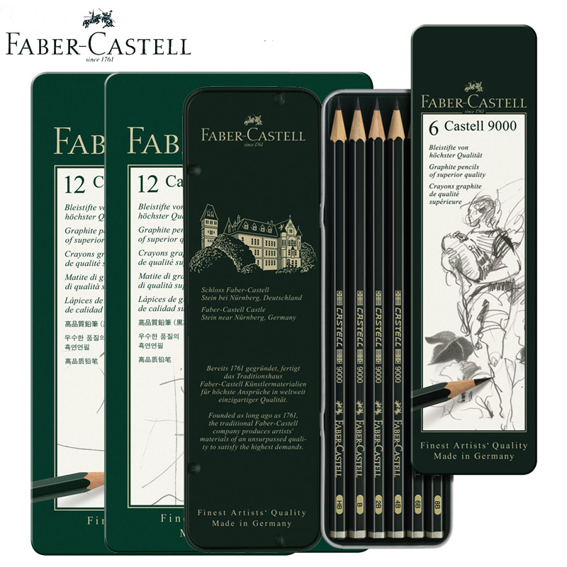 Faber-Castell 9000 Design Graphite Pencils Art 6/12pcs/Tin Black Colored Wooden Cartoon Sketching Pencil for Carpenter Children faber jolie black glass a80