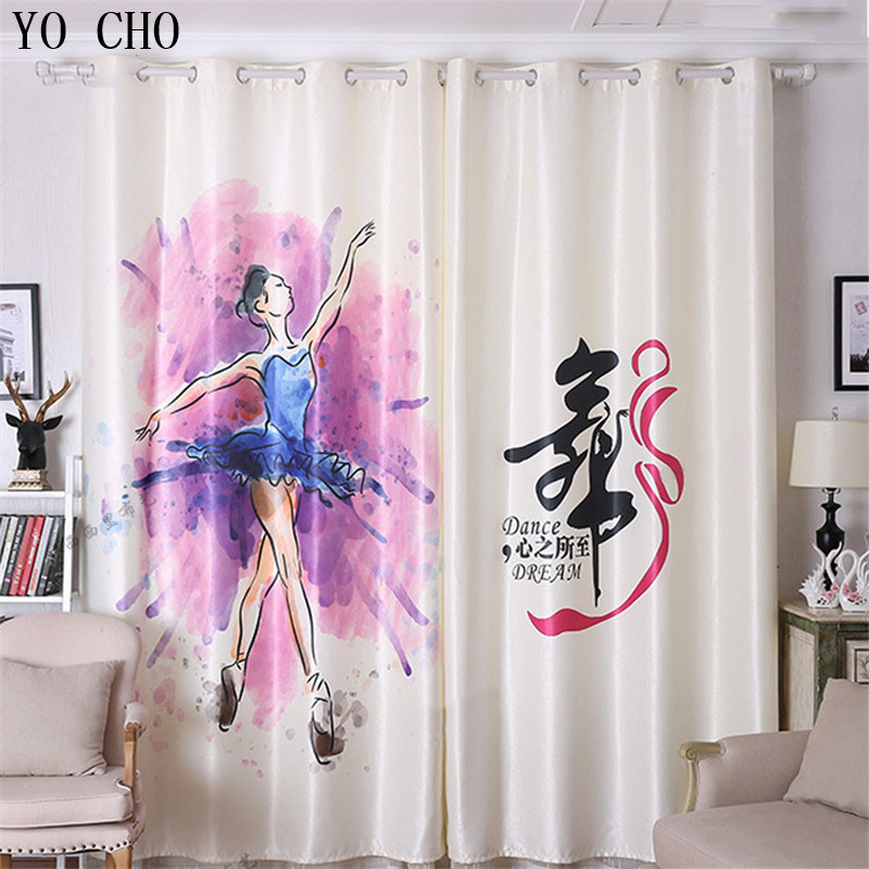 Yo Cho New Ballet Pattern Blackout Curtains Elegant Beautiful 3d