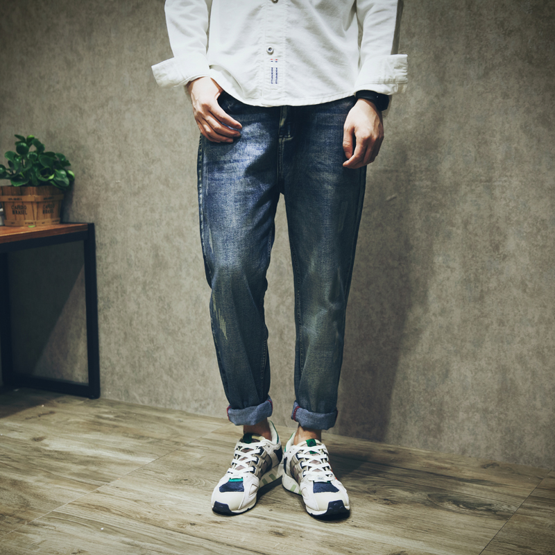 2017 Elastic Fabric Harem Jeans For Men Casual Denim Joggers Pants Cotton Loose Hip Hop Long low drop crotch Trousers 051102  цены