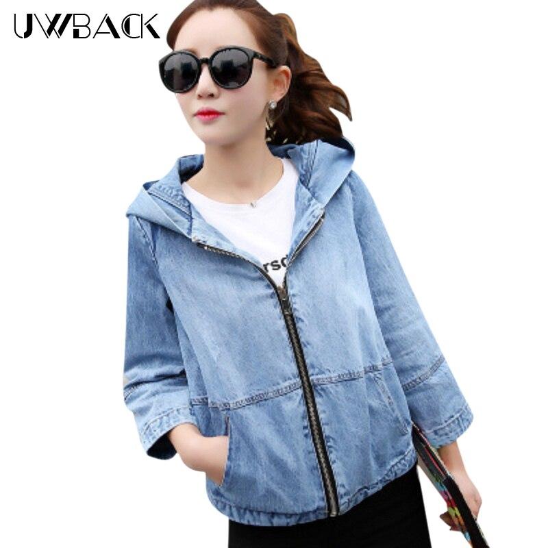 Uwback 2018 Brand Autumn Denim Jacket Women Loose Hooded Short Jeans Jackets Mujer Washed Windbreak Outwear Coat Femme OB004