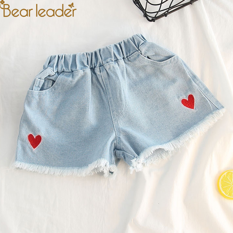 Bear Leader Girl Jeans 2018 Summer New Fashion Jeans Girls Love Embroidery Edge Denim Shorts Children Baby Jeans Hot Pants summer women fashion high waist embroidery flower denim tassel jeans shorts female floral shorts jeans for women dx8299