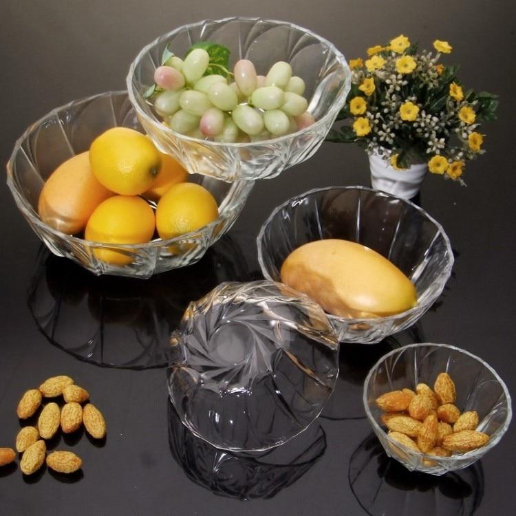 Free Shipping 5pcs Glass Bowl Set Salad Bowl Mixing Bowl Fruit Dried Fruit  Bowl Kitchen Utensils