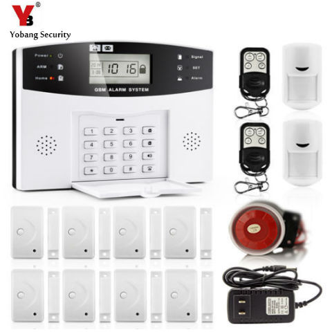 YobangSecurity 30A GSM SMS Home Burglar Security Alarm System English Russian Spanish Cezch Italian Voice Wireless Alarm Kit wireless smoke fire detector for wireless for touch keypad panel wifi gsm home security burglar voice alarm system
