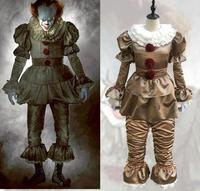 Free Shipping Stephen King's It Pennywise Cosplay Costume Adult Men Women Clown costume suit made fancy Halloween Terror costume