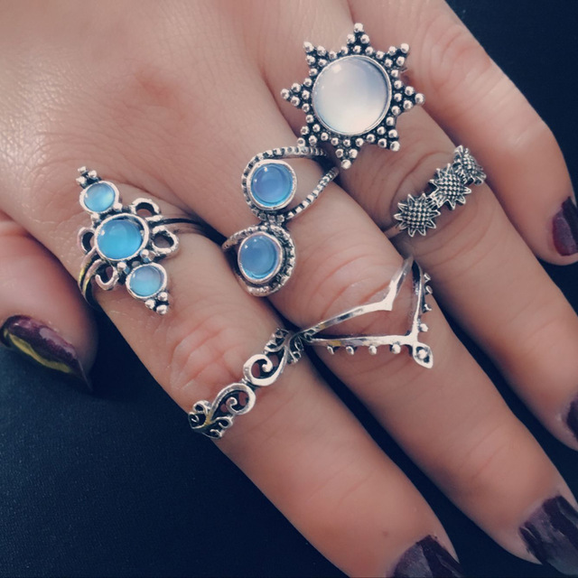 HuaTang Bohemian Antique Silver Ring Geometric Elephant Flower Green Rhinestone Knuckle Rings Midi Finger Anel Rings Jewelry 79