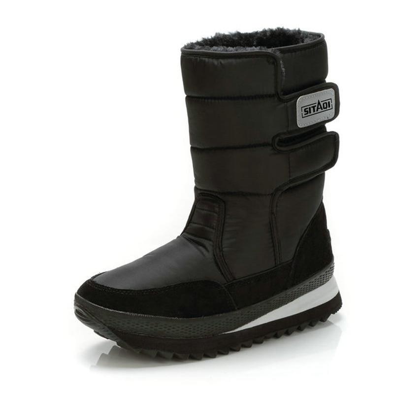 Men boots 2018 unisex winter shoes plush warm slip-resistant waterproof men platform snow boots Mid-Calf black boots size 35-45