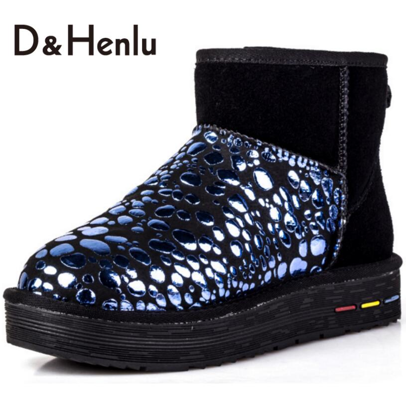 ФОТО {D&H} Winter Polka Dot Snow Boots Women Australian Brand Designer Short Boots Genuine Leather Plush Boot Shoes Woman Black