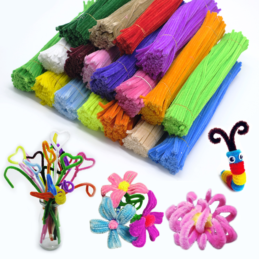 100pcs 30cm Chenille Stem Pipe Cleaners Plush Educational Toy  Colorful Velvet Strip Cleaner Toy Handmade DIY Craft Supplies