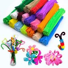 100 pçs 30cm chenille haste tubo limpadores de pelúcia brinquedo educacional colorido veludo tira mais limpo brinquedo artesanal diy artesanato suprimentos