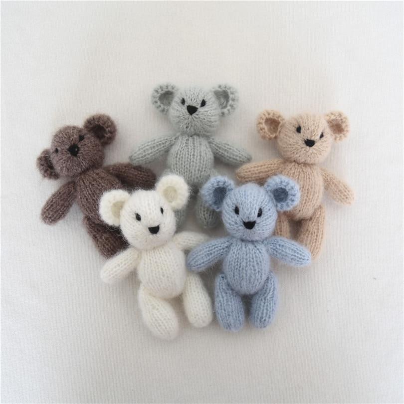 Recém-nascido mohair urso de pelúcia brinquedo fotografia prop bebê feito à mão malha boneca recém-nascido stuffer animal prop