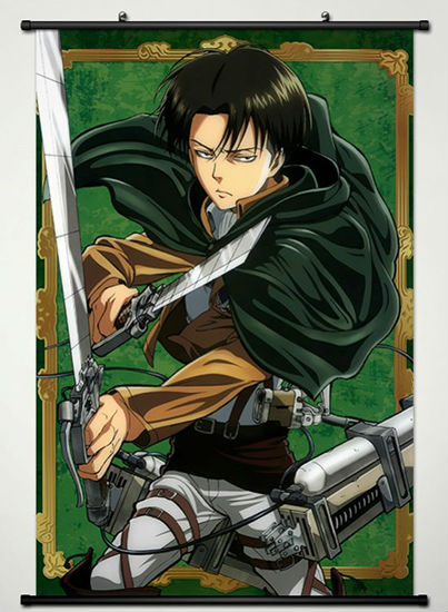wall scroll poster fabric printing for anime attack on titan levi