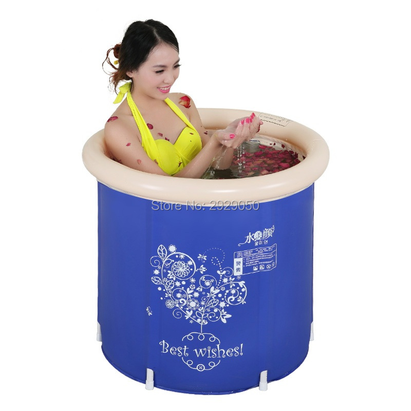 Water-saving version of the dark blue printing 65 * 65 cm, adult folding tub, inflatable bathtub, thick baby bath