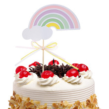 1pc Rainbow Cake Topper Flags Baby Shower Birthday Party Decor Children Kids Christmas Supplies