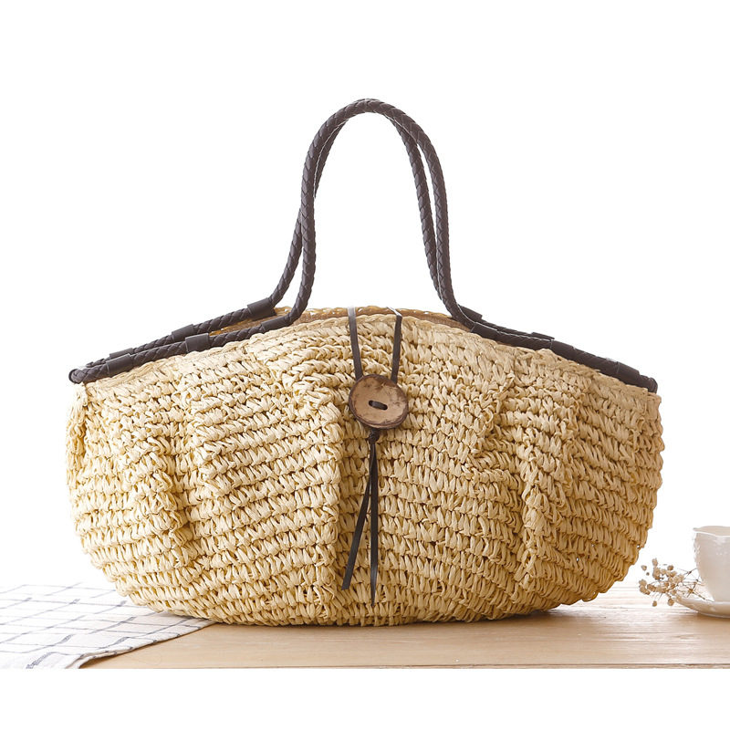 Pillow Straw Bag Summer Beach Handbag Women Causal Shopping Travel Bag Large cap