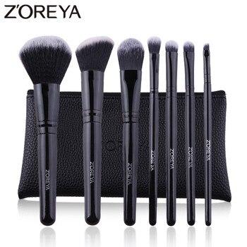 ZOREYA7 PCS Professional Makeup Brushes Black Classic Wooden Handle Make Up Brush Set Blush Foundation Powder Cosmetic Tools