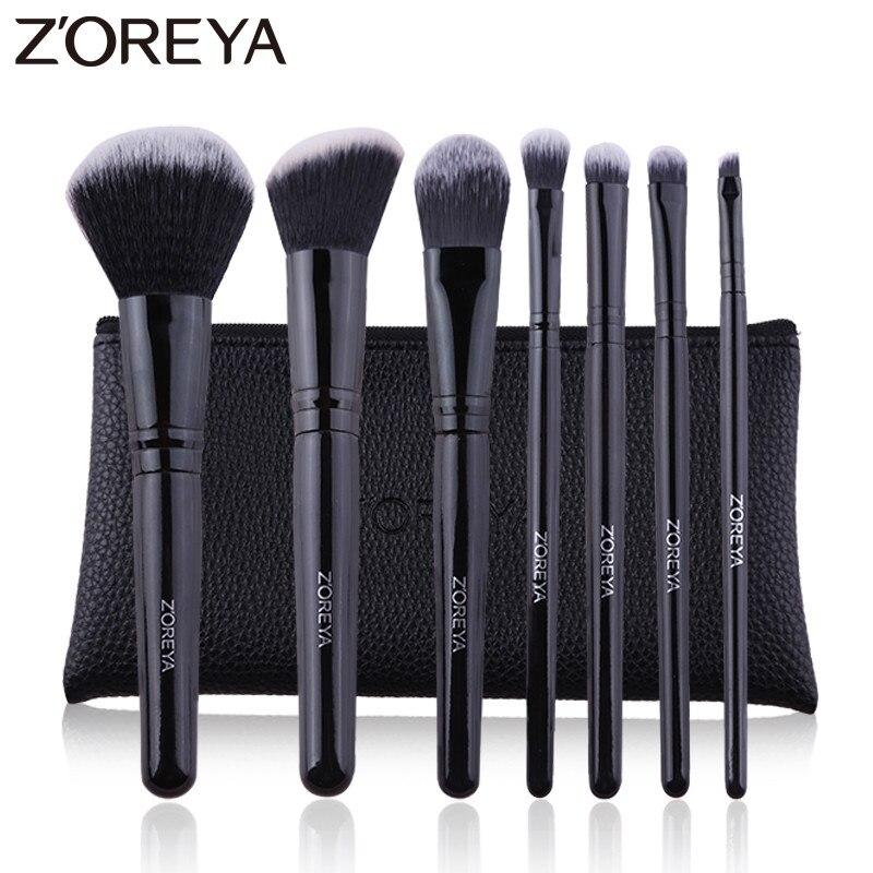 ZOREYA7 PCS Professional Make-Up Pinsel Schwarz Klassische Holz Griff Make Up Pinsel Set Blush Foundation Pulver Kosmetische Werkzeuge