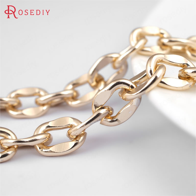 (29876-G)2 Meters 10*8MM Aluminum Champagne Gold Oval Shape Link Chains  Necklace Chains Diy Jewelry Findings Accessories