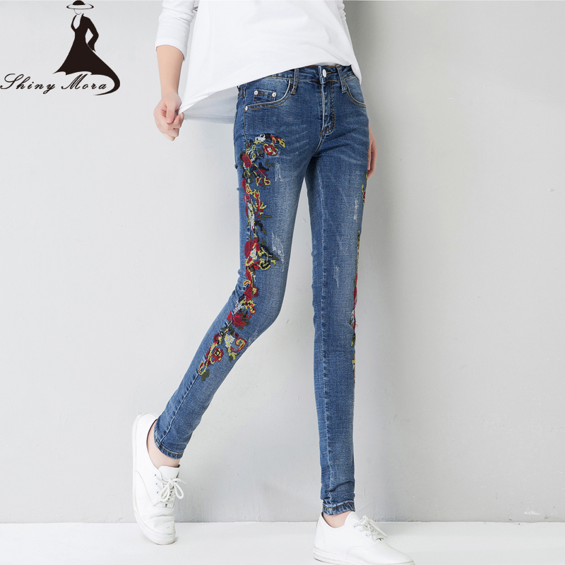 2017 Summer Ankle-Length Pants Jeans Embroidery Flower Ladies Fashion Denim Jeans Mid Waist Female Casual Skinny Pencil Pants 2017 spring new women sweet floral embroidery pastoralism denim jeans pockets ankle length pants ladies casual trouse top118