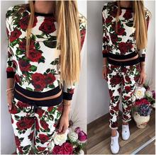 2016 Print O-neck Women Two Piece Sets Hoodies Tracksuit  Women Sport Suit sports wear womens running sets compresion set