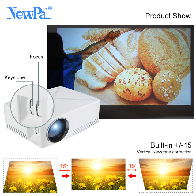 Newpal C80 UP Mini Projector 2200Lumens Projector 1280x720P Home Cinema (Android WIFI Option) 720P HD Beamer LED Proyector c80 3