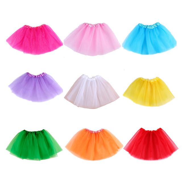 Brand New Baby Girls Tutu Skirt Children Dance Skirt Translucent 3-Layer Net Yarn Beautiful Colors Girls Sport Skirt Length 28CM