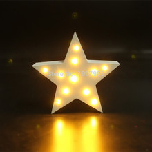 MINI white wooden star shape light LED  Marquee Light Sign valentines gift Indoor Dorm FREE SHIPPING