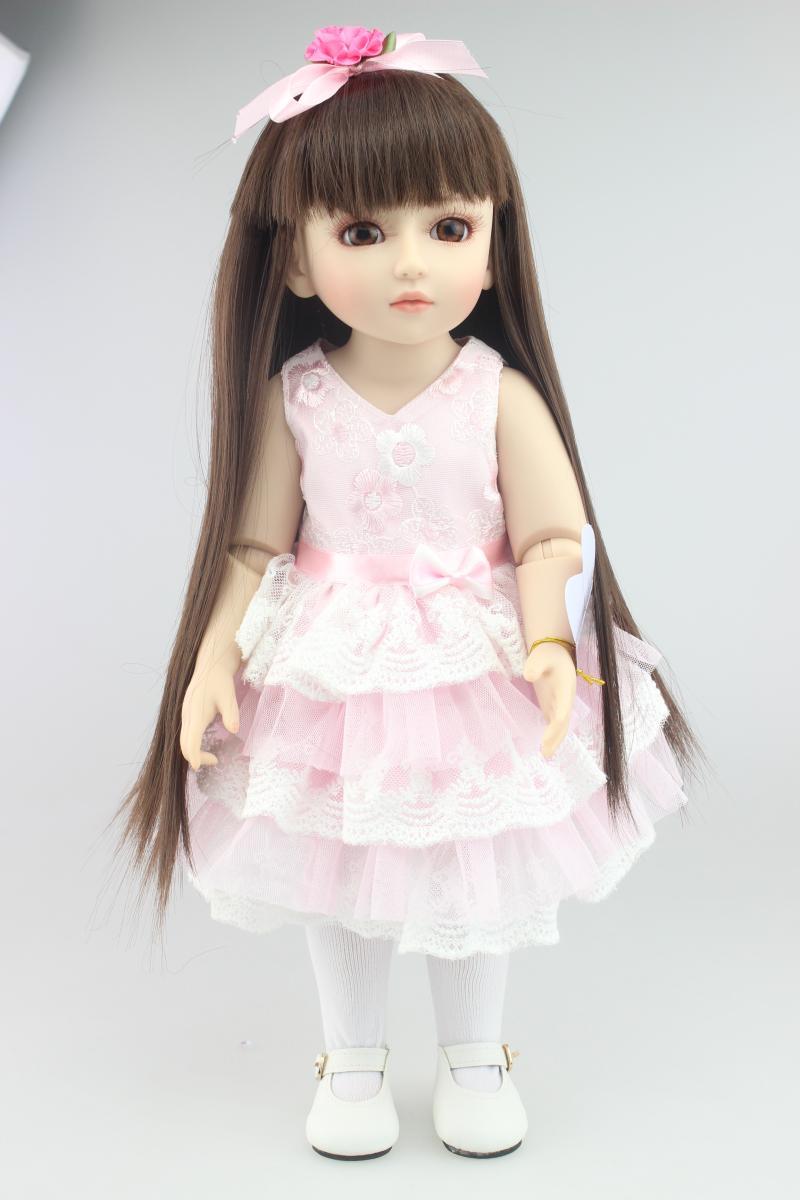 1/4   sd bjd doll cute and nice big eyes princess girl brown long hair pink dress lifelike reborn babies boneca children gift ロリータ ウィッグ