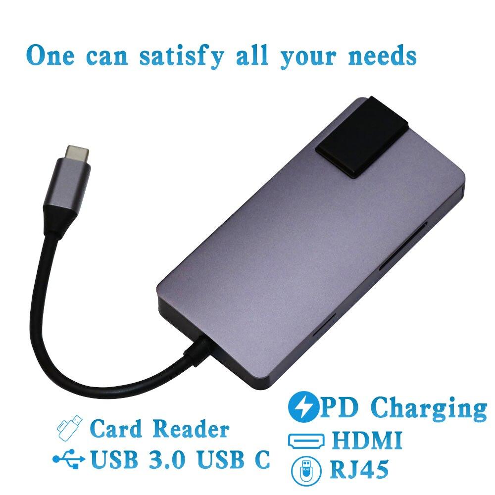8 en 1 HUB USB type C vers HDMI 4 K adaptateur Gigabit Ethernet RJ45 USB 3.0 séparateur convertisseur pour MacBook Pro Air accessoires d'ordinateur portable