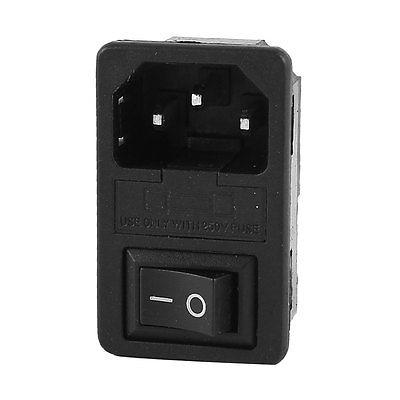 IEC 320 C14 3Pin Rocker Switch Fuse Inlet Module Plug Male Power Supply Socket black fuse switch holder iec 320 c14 3pin screw type power inlet socket ac 250v