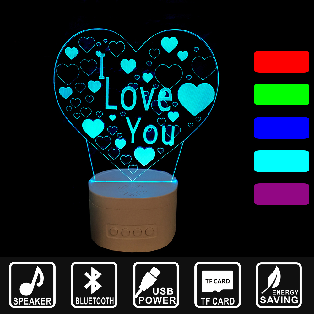 3D Music light Bluetooth Speaker TF card Nightlight USB Lamp LED Night Light heart with L LOVE YOU Asmosphere Lamp IY803387 i love you heart shape led 3d night