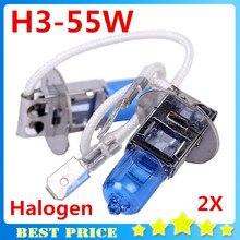 Headlight-Lamp Car Halogen Xenon Dark-Blue H3 Super-White 12v 55w Glass 2pcs Replacement