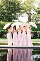 Romantic Sweetheart Full Length Pink Bridesmaid Dresses Long Sexy Open Back Chiffon Custom Made Brides Maid Gowns