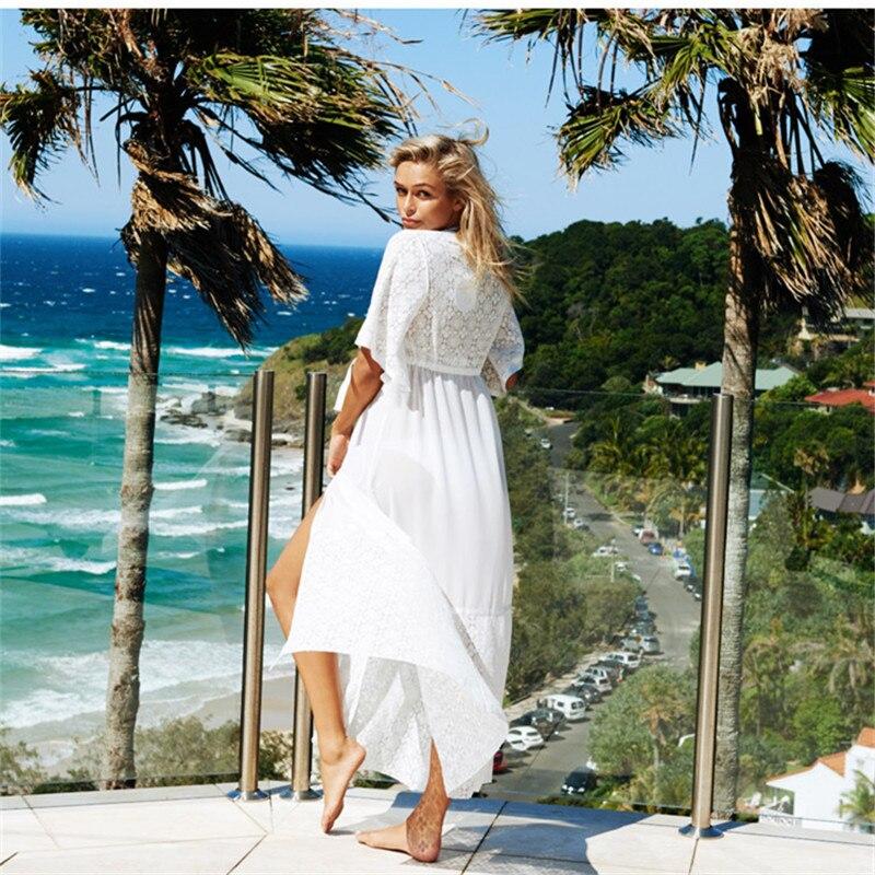 Traje de baño de playa con cubierta blanca de Ariel para cubrir la playa, ropa de playa con encaje, ropa de protección solar, cubierta de Bikini de punto