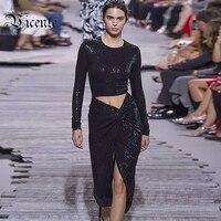 送料無料! 2018新しいファッションエレガントな黒スパンコールセクシーなスプリット二枚ミディ卸売女性セレブパーティー着用ドレスセッ