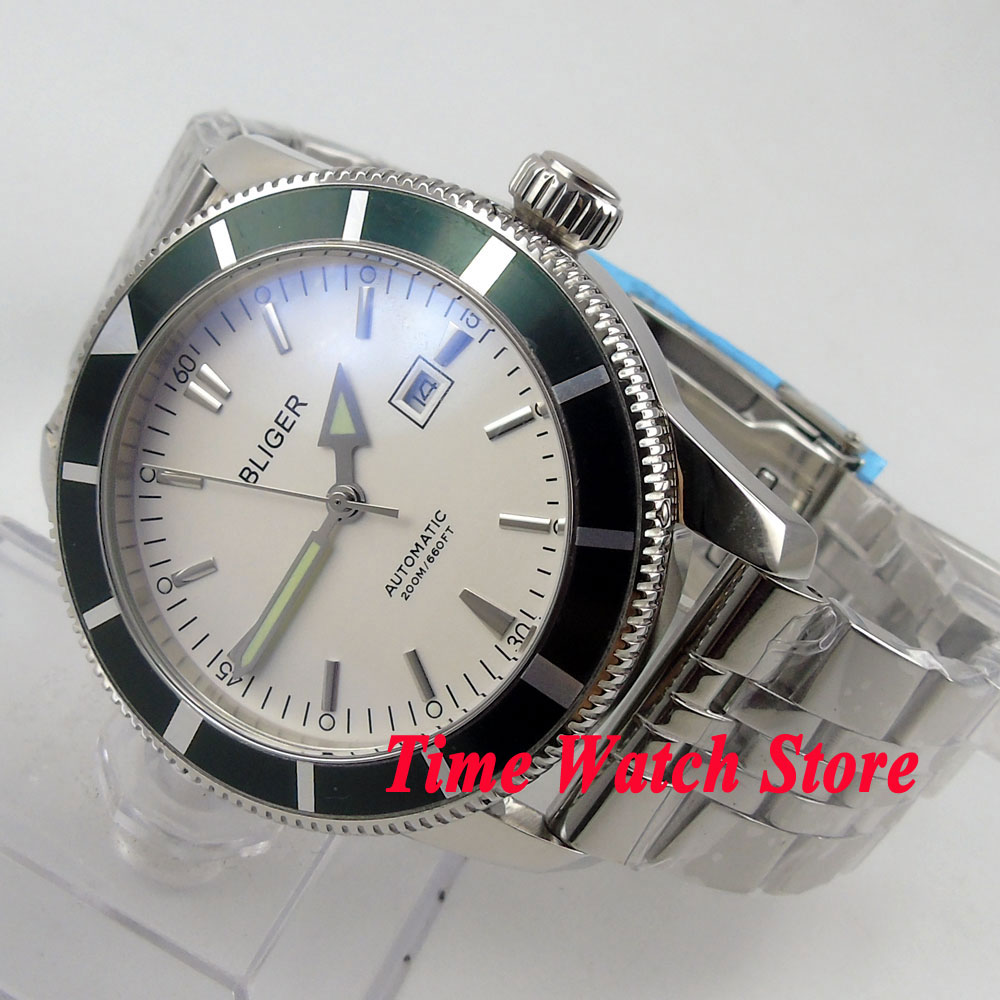 Bliger 46mm white dial date luminous Stainless steel band deployant clasp Automatic men's watch BL98 цена и фото