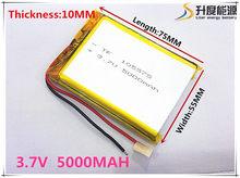 Li-po 3.7 v bateria de polímero de lítio 5000 mah interphone 105575 gps veículo viagem registrador de dados