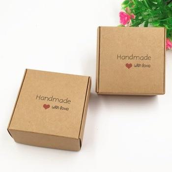 200pcs/lot 6.5*6.5*3cm brown kraft Paper Box DIY Bottle Storage Boxes package box