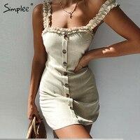 Simplee пикантные рюшами bodycon Летнее платье Женщины 2019 спинки белье на шнуровке Большие размеры пляжное платье повседневные женские vestidos