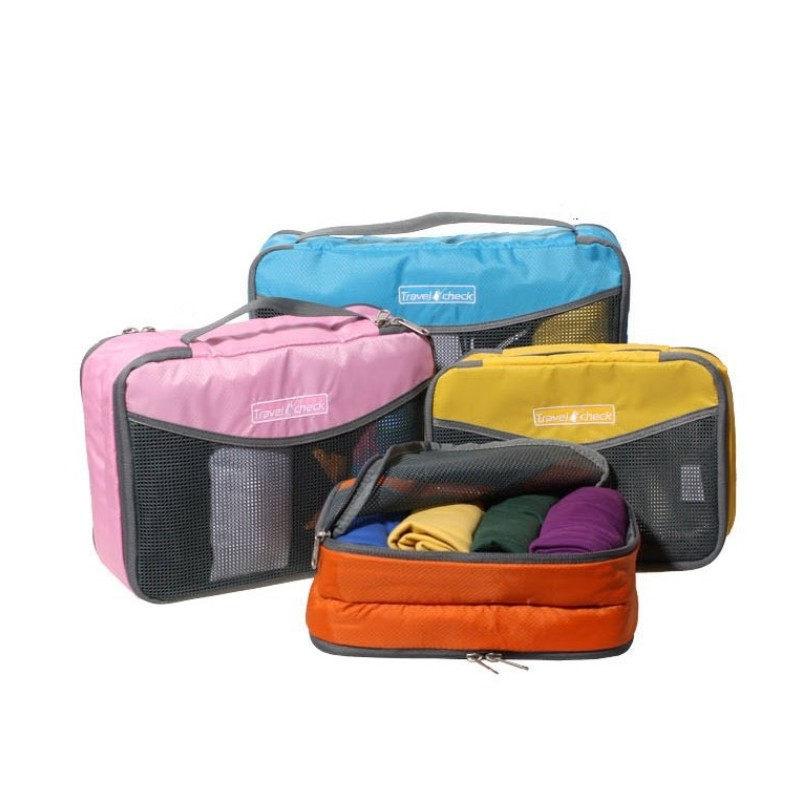 High Quality Nylon Waterproof Material Travel Luggage Packing Cube Organizer Bag Mesh Bags Clothes Hand Storage Pouch