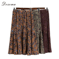 floral mermaid skirt women 2017 spring vintage high waist ruffles floral skirt girls autumn elegant chiffon midi skirt women