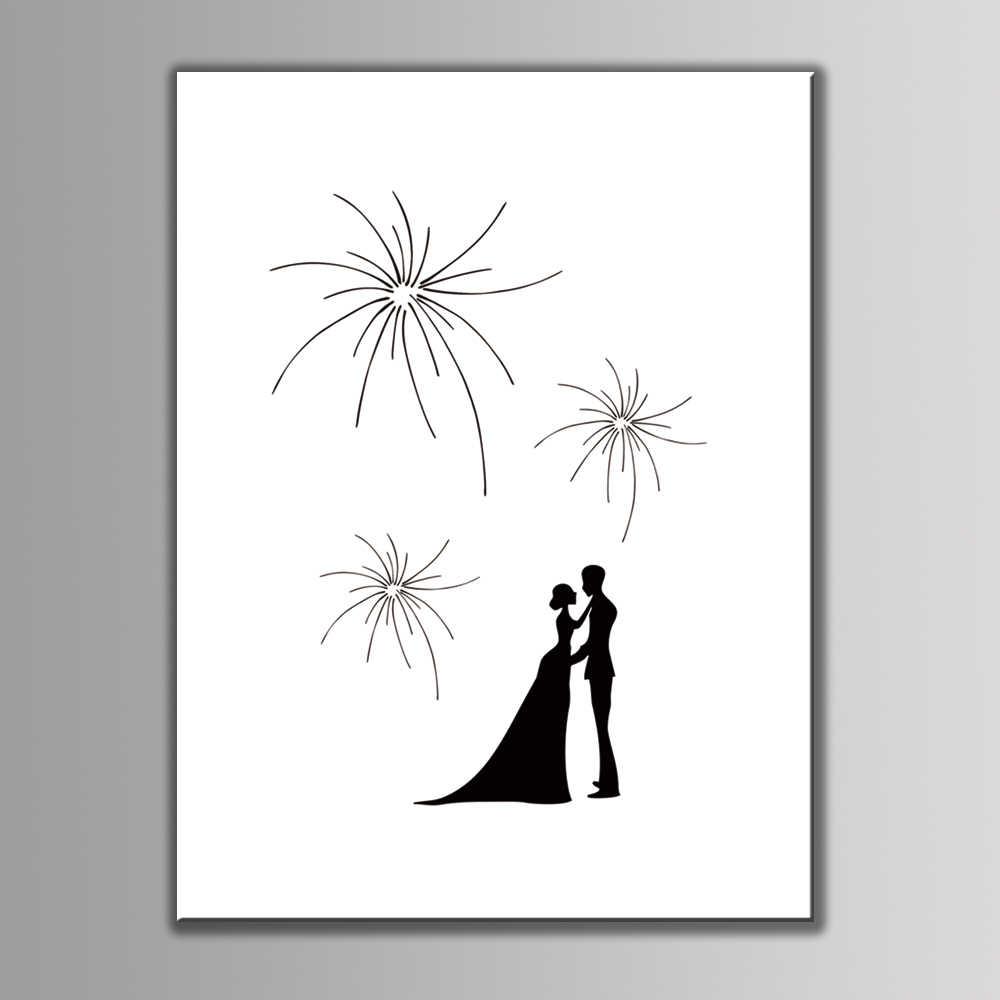 Hot!!! Fingerprint Signature Canvas Painting Fireworks Wedding Gift Wedding Decoration Guest Book Kissing Bride Groom 2pc inkpad