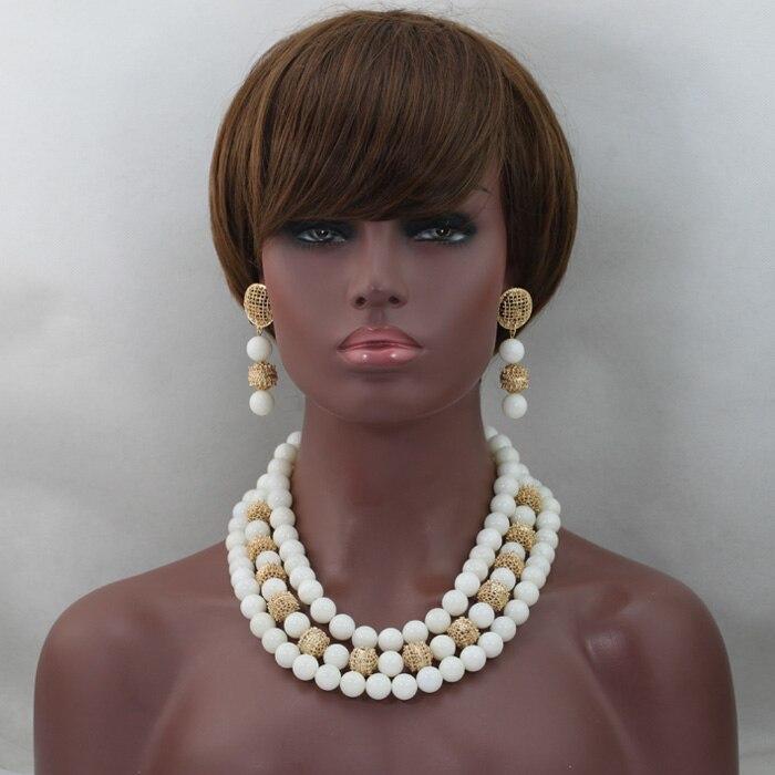 Mode blanc grandes perles Costume bijoux ensemble 14 MM perles de qualité africaine mariage bijoux ensemble pierre naturelle perle livraison gratuite WD510 - 5