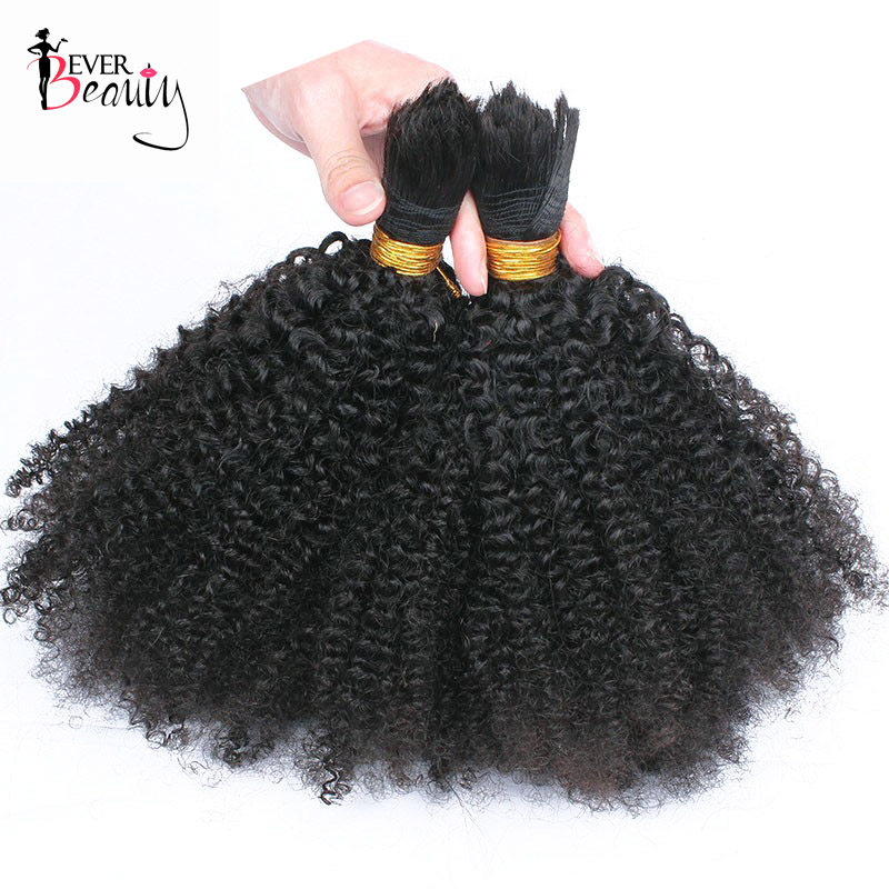 Human Braiding Hair Bulk No Weft Mongolian Afro Kinky Curly Bulk Hair For Braiding Remy Hair 3Pcs/Lot Crochet Braids Ever Beauty