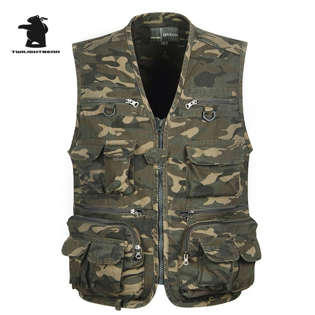 2017 new men's casual vest fashion camouflage multi-pocketed plus size outside Photography canvas vest men fashing vest CC5E7