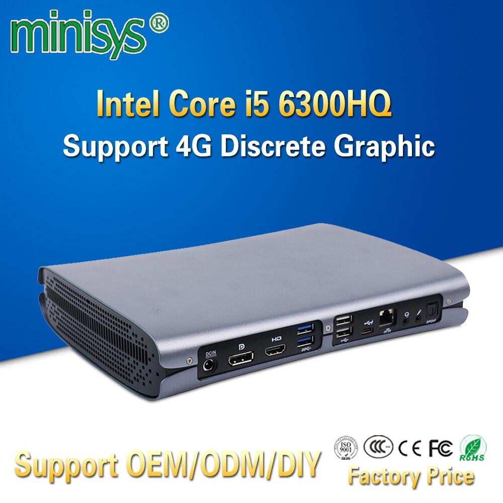 Minisys High End Gaming Computer Skylake Intel Core I5 6300HQ Quad Core Office Mini PC Support GTX960M 4G Discrete Graphic Card