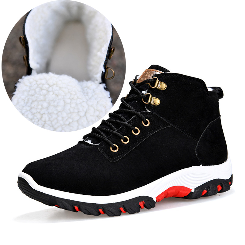 OUDINIAO Warm Ankle Snow Winter Boots Men Plush Warm Winter Men Shoes Round Toe Snow Winter Shoes Men