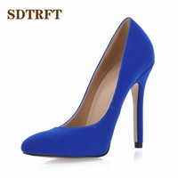 SDTRFT zapatos mujer Stiletto female Pointed Toe OL work shoes woman 12cm thin heels Blue Flock wedding pumps Plus:35 42 43