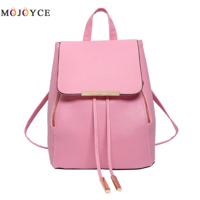 Women Backpacks Solid Fashion School Bag For Teenage Girls High Quality PU Leather Vintage Waterproof Backpack Travel Bags zhierna brand women bow backpacks pu leather backpack travel casual bags high quality girls school bag for teenagers