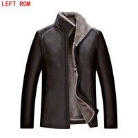 Piel hombres imitación cuero Parque chaqueta mapache alta calidad bombardero chaqueta de cuero de gran tamaño 4XL