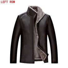 sheepskin coat men Imitation leather font b jacket b font park High quality Raccoon fur collar